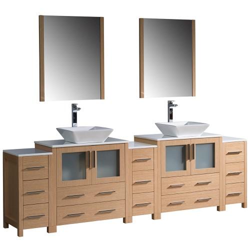 """Fresca Torino 96"""" Light Oak Modern Double Sink Bathroom Vanity w/ Vessel Sinks"""