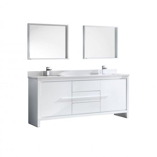 "Fresca Allier 72"" White Modern Double Sink Bathroom Vanity w/ Mirror"