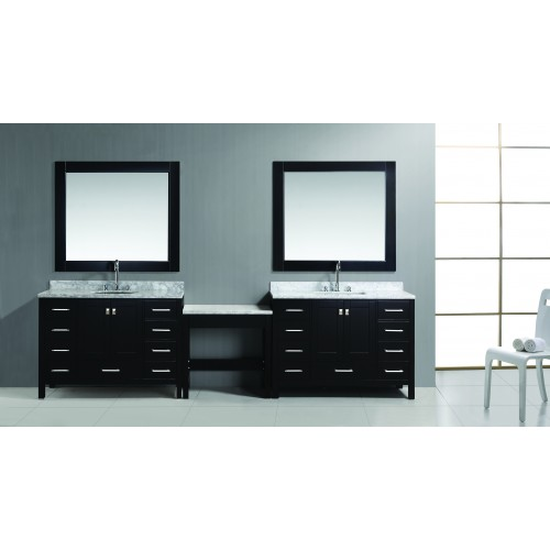 """Two London 48"""" Single Sink Vanity Set in Espresso Finish with One Make-up table in Espresso"""