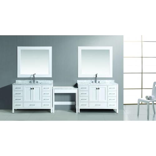 """Two London 48"""" Single Sink Vanity Set in White Finish with One Make-up table in White"""