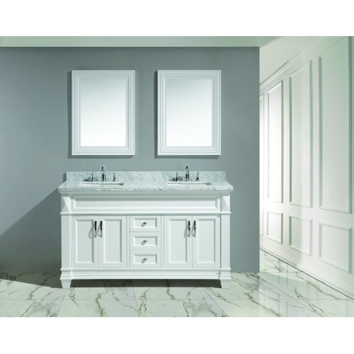 """Hudson 60"""" Double Sink Vanity Set in White with White Carrara Marble Countertop"""