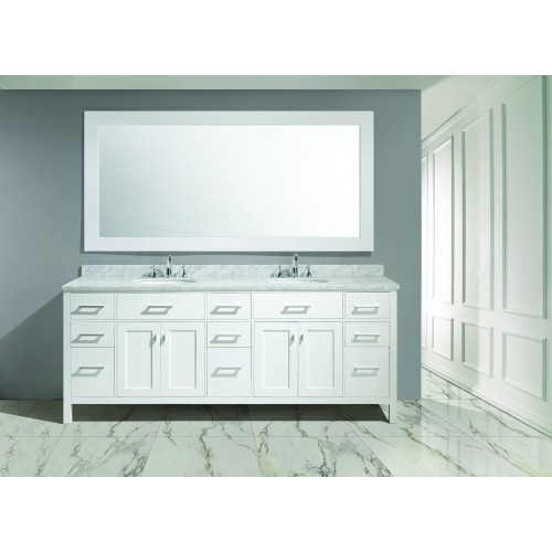 """London 84"""" Double Sink Vanity Set in White Finish"""