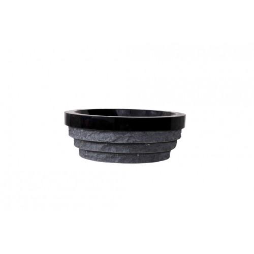 Virtu USA Pallas Bathroom Vessel Sink in Shanxi Black Granite