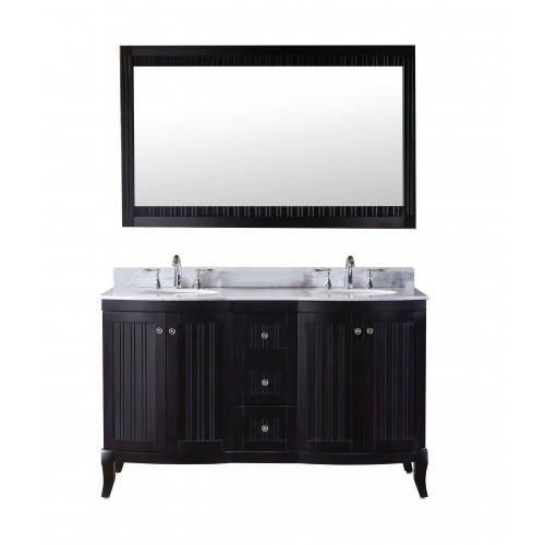 """Khaleesi 60"""" Double Bathroom Vanity Cabinet Set in Espresso"""