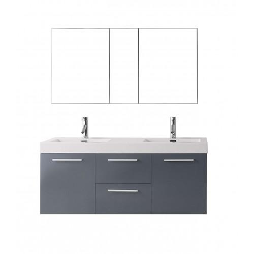 "Midori 54"" Double Bathroom Vanity Cabinet Set in Grey"