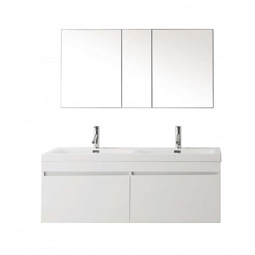 "Zuri 55"" Double Bathroom Vanity Cabinet Set in Gloss White"