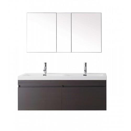 """Zuri 55"""" Double Bathroom Vanity Cabinet Set in Wenge"""