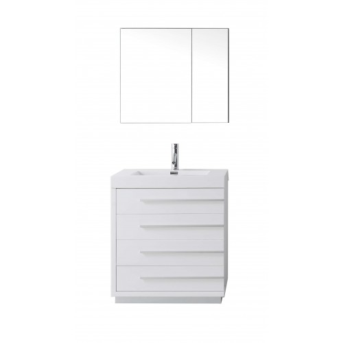 "Bailey 30"" Single Bathroom Vanity Cabinet Set in Gloss White"