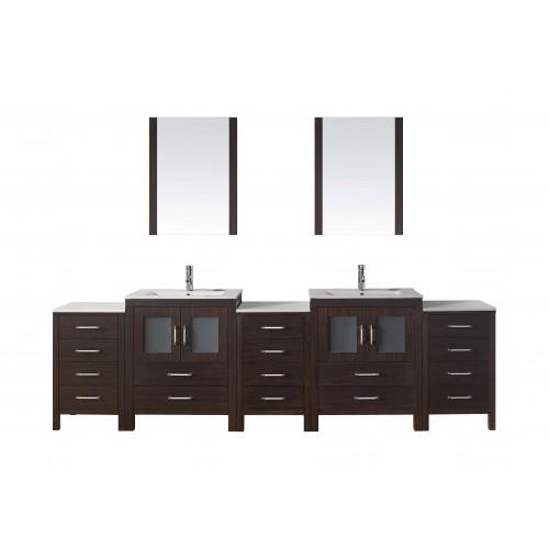 """Dior 110"""" Double Bathroom Vanity Cabinet Set in Espresso"""