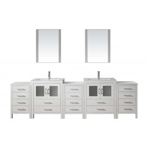 "Dior 110"" Double Bathroom Vanity Cabinet Set in White"
