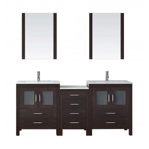 """Dior 74"""" Double Bathroom Vanity Cabinet Set in Espresso"""