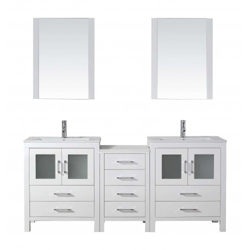 "Dior 74"" Double Bathroom Vanity Cabinet Set in White"