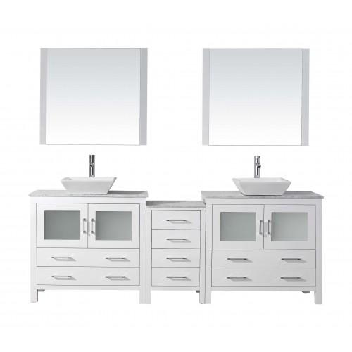 "Dior 90"" Double Bathroom Vanity Cabinet Set in White"
