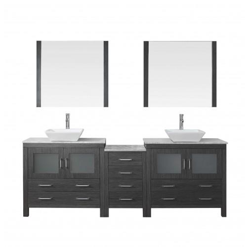 """Dior 90"""" Double Bathroom Vanity Cabinet Set in Zebra Grey"""