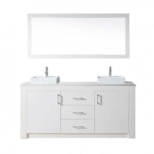 "Tavian 72"" Double Bathroom Vanity Cabinet Set in White"