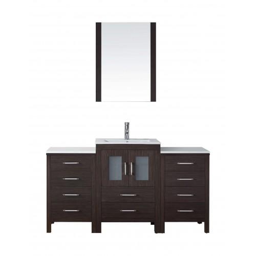"""Dior 60"""" Single Bathroom Vanity Cabinet Set in Espresso"""