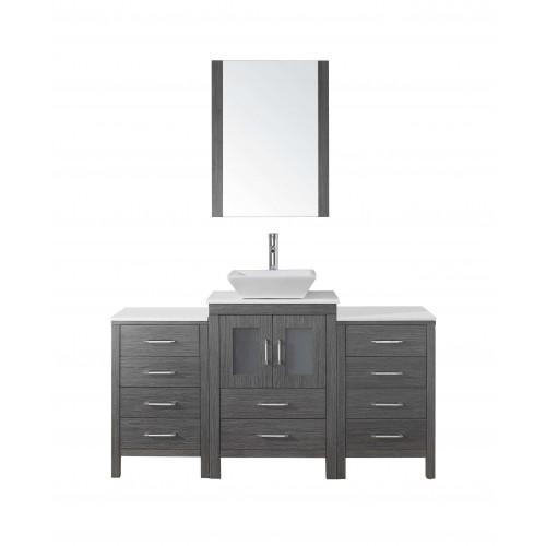"Dior 60"" Single Bathroom Vanity Cabinet Set in Zebra Grey"