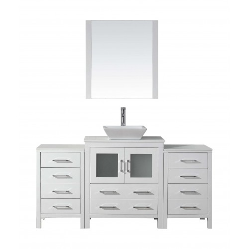"Dior 66"" Single Bathroom Vanity Cabinet Set in White"