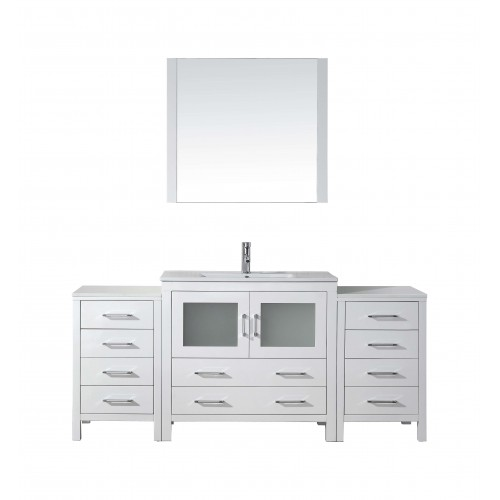 "Dior 72"" Single Bathroom Vanity Cabinet Set in White"