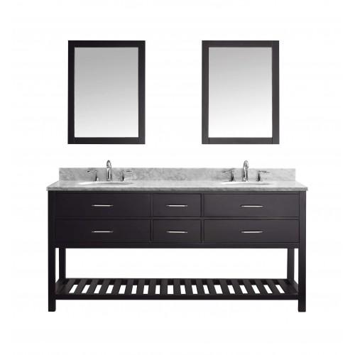 """Caroline Estate 72"""" Double Bathroom Vanity Cabinet Set in Espresso"""