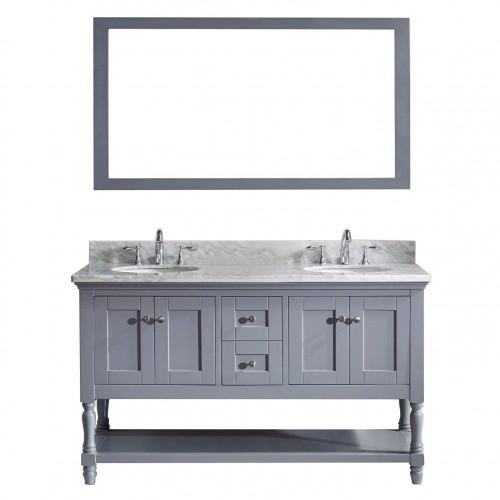 """Julianna  60"""" Double Bathroom Vanity Cabinet Set in Grey"""