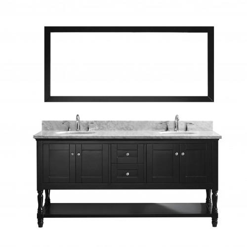 """Julianna  72"""" Double Bathroom Vanity Cabinet Set in Espresso"""