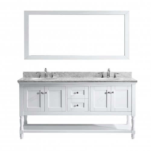 "Julianna  72"" Double Bathroom Vanity Cabinet Set in White"