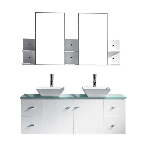 "Clarissa 61"" Double Bathroom Vanity Cabinet Set in White"