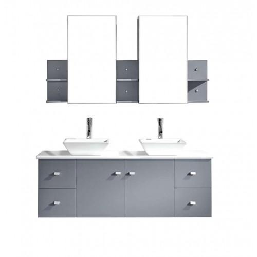 "Clarissa 61"" Double Bathroom Vanity Cabinet Set in Grey"