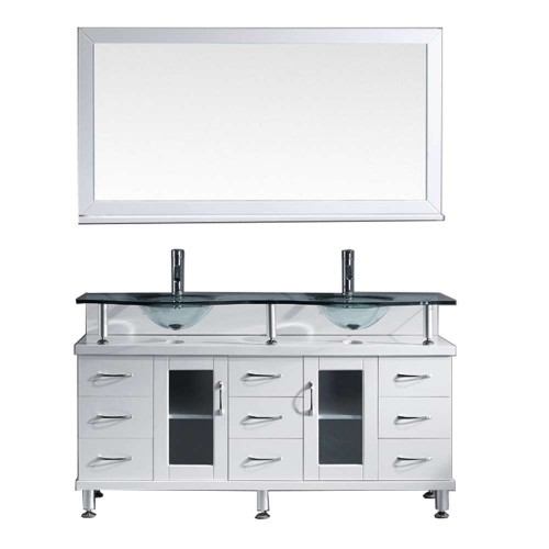 "Vincente Rocco 59"" Double Bathroom Vanity Cabinet Set in White"