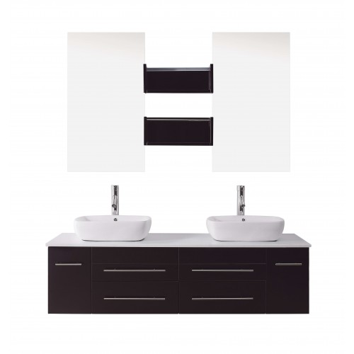 "Augustine 59"" Double Bathroom Vanity Cabinet Set in Espresso"