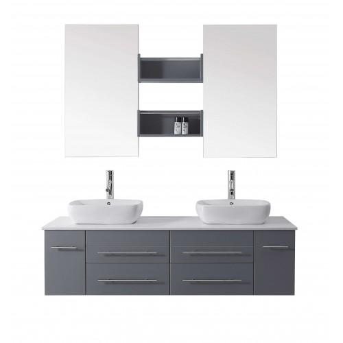 """Augustine 59"""" Double Bathroom Vanity Cabinet Set in Grey"""