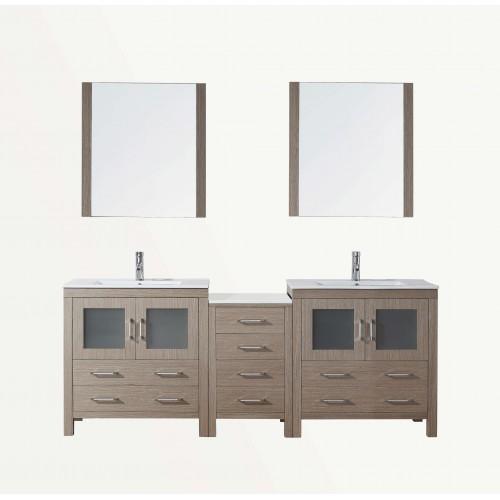 """Dior 82"""" Double Bathroom Vanity Cabinet Set in Dark Oak"""