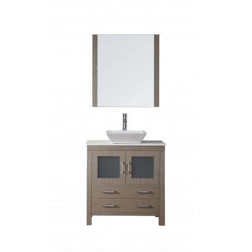 """Dior 32"""" Single Bathroom Vanity Cabinet Set in Dark Oak"""