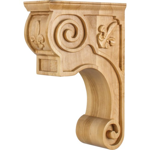 CORT-F Hand-Carved Wood Corbel with Fleur de Lis and Scroll Detail Design