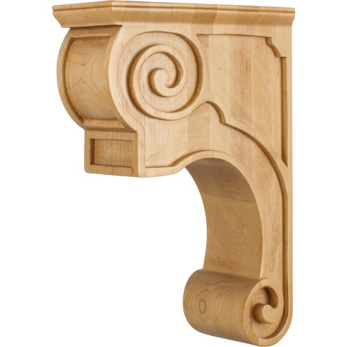 CORT-P Hand-Carved Wood Corbel with Plain Design