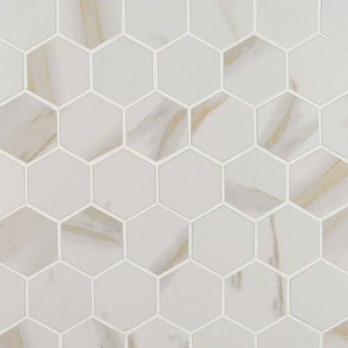 Pietra Calacatta Hexagon Matte White Porcelain Matte 2X2