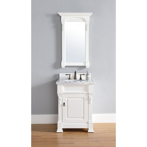"""""""Brookfield 26"""""""" Cottage White Single Vanity with Absolute Black Rustic Stone Top"""""""