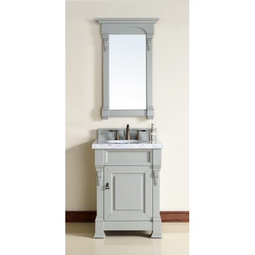"""Brookfield 26"""" Urban Gray Single Vanity with Absolute Black Rustic Stone Top"""