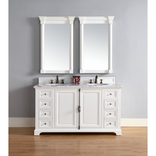 """Providence 60"""" Cottage White Double Vanity with Absolute Black Rustic Stone Top"""