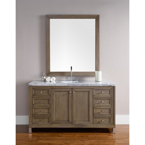 """Chicago 60"""" White Washed Walnut Single Vanity with Black Rustic Stone Top"""