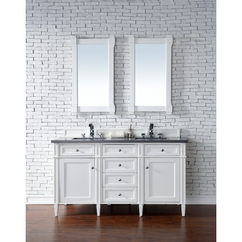 """Brittany 60"""" Cottage White Double Vanity with Shadow Gray Quartz Top"""