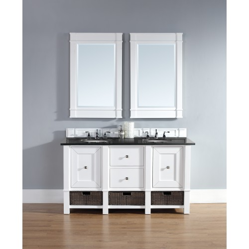 """Madison 60"""" Cottage White Single Vanity with Absolute Black Polished Stone Top"""