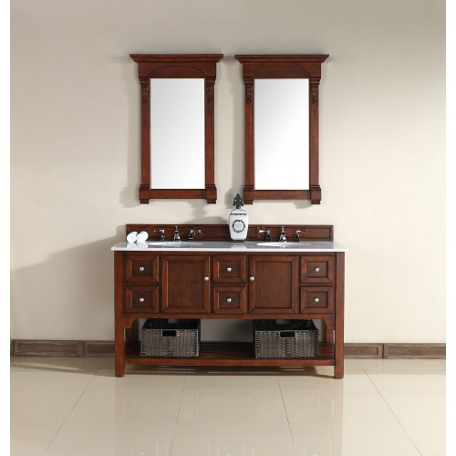 """South Hampton 60"""" Double Vanity Warm Cherry Finish Guangxi Marble Top"""
