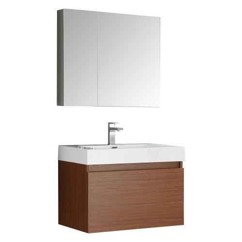 Fresca Mezzo 30 Teak Wall Hung Modern Bathroom Vanity w/ Medicine Cabinet
