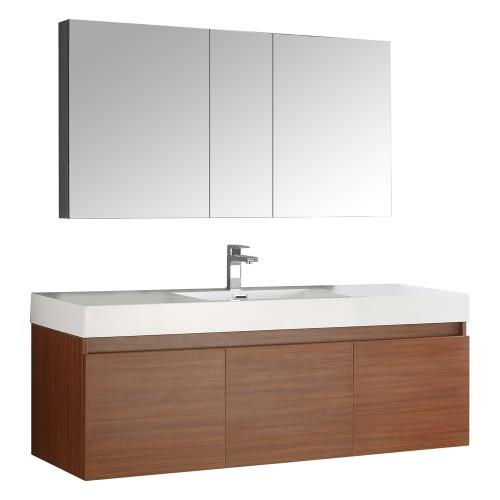 Fresca Mezzo 60 Teak Wall Hung Single Sink Modern Bathroom Vanity w/ Medicine Cabinet