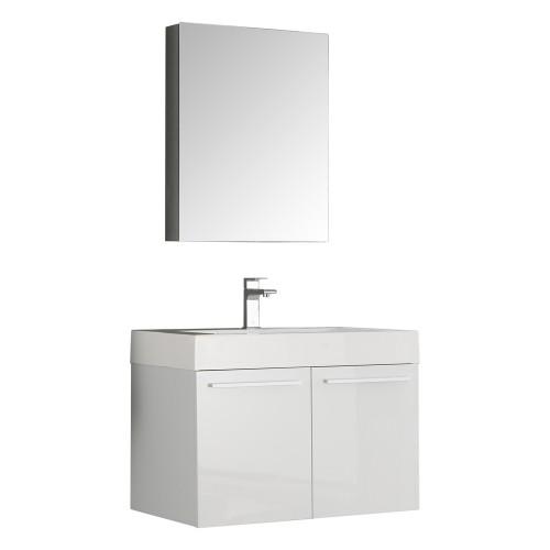 Fresca Vista 30 White Wall Hung Modern Bathroom Vanity w/ Medicine Cabinet