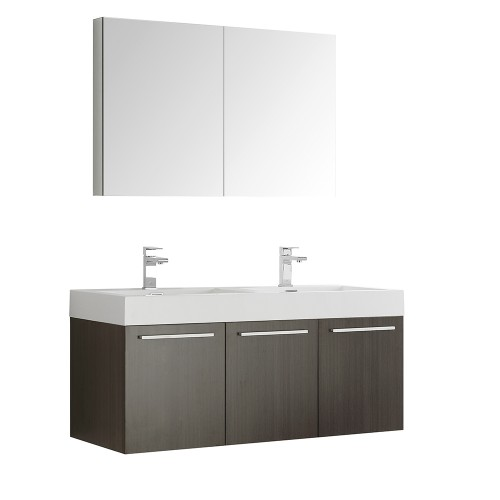Fresca Vista 48 Gray Oak Wall Hung Double Sink Modern Bathroom Vanity w/ Medicine Cabinet