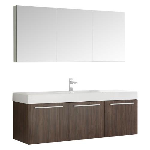 Fresca Vista 60 Walnut Wall Hung Single Sink Modern Bathroom Vanity w/ Medicine Cabinet