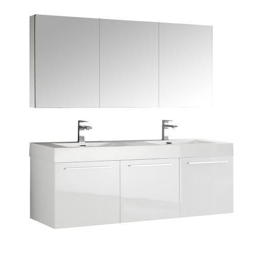 Fresca Vista 60 White Wall Hung Double Sink Modern Bathroom Vanity w/ Medicine Cabinet